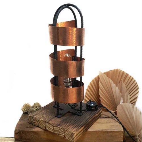 Lampe design cuivre, acier et bois