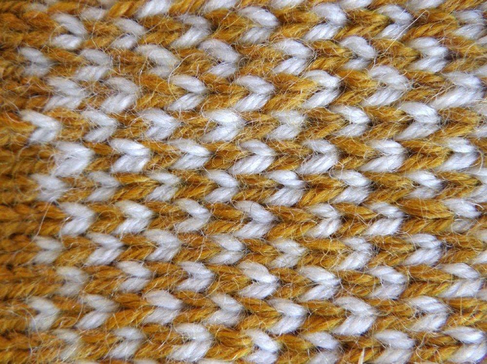 """Moufles """"Mimi"""", laine & acrylique jaune et écru"""