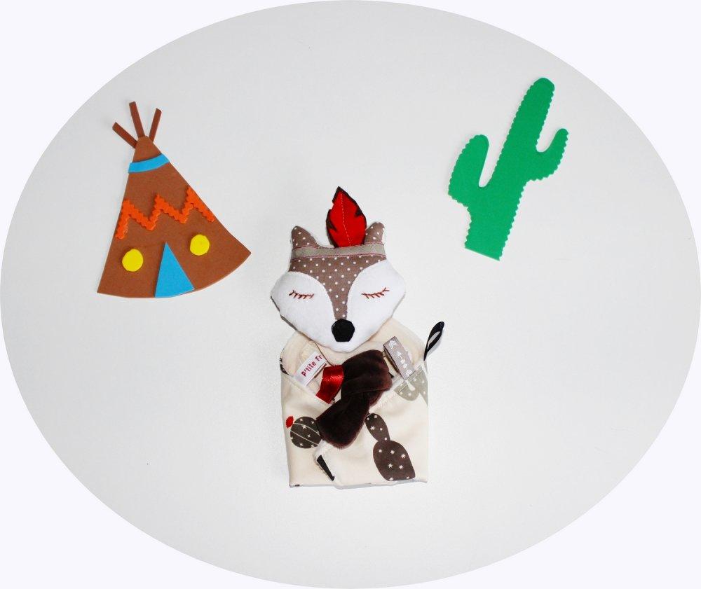 Doudou plat peluche bébé renard indien minky cadeau naissance