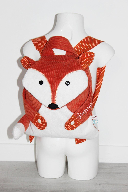 Sac à dos bébé renard velours orange/brique