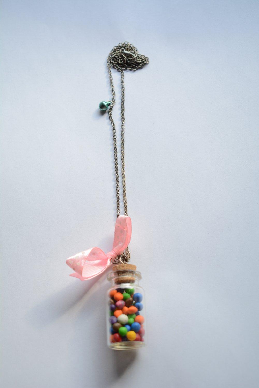 Collier fiole multicolore