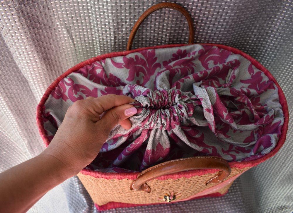 sac cabas paille et rose