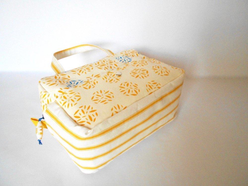 Trousse de toilette motif grains de riz jaunes et bleus