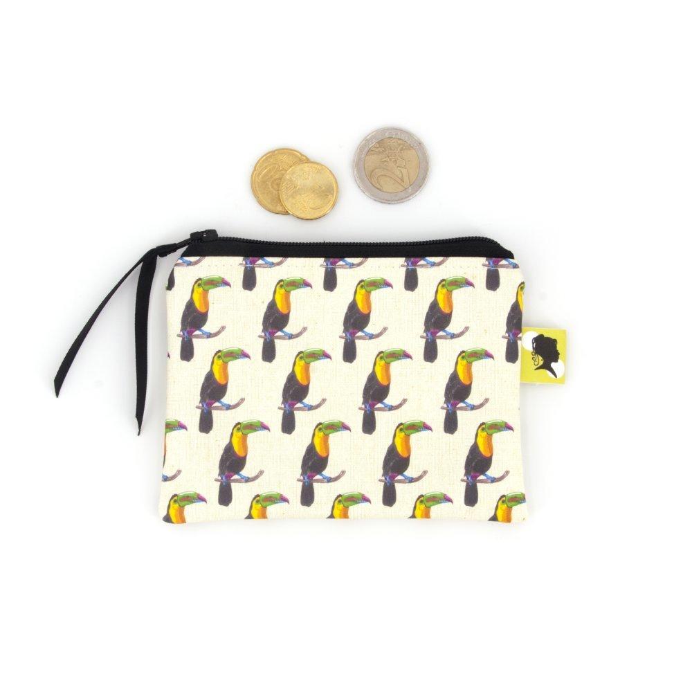 Porte monnaie original, illustré de toucans, fait-main avec fermeture zippée, cadeau pour homme ou femme, pour la fete des meres, 12x9 cm