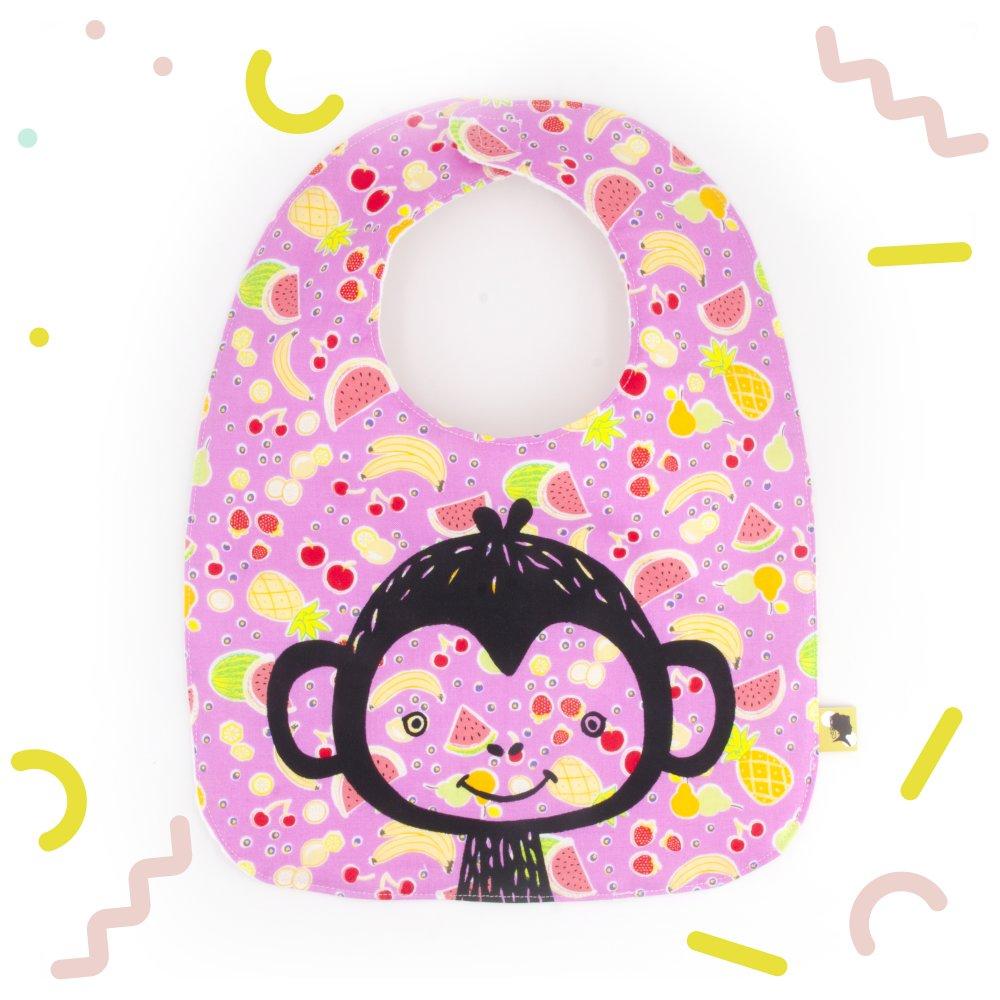 Cadeau Rigolo Baby Shower bavoir bebe, original, rose avec un singe, pour le repas bebe, un cadeau  naissance, cadeau original, pour une baby shower, 0/24 mois