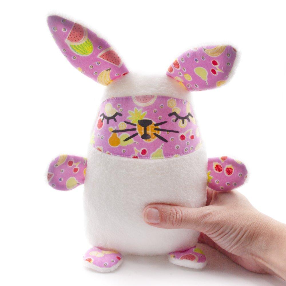Cadeau Rigolo Baby Shower doudou bebe, peluche lapin, rose avec des fruits, un cadeau naissance,  cadeau original bebe, pour une baby shower, noel, 15x7x19 cm