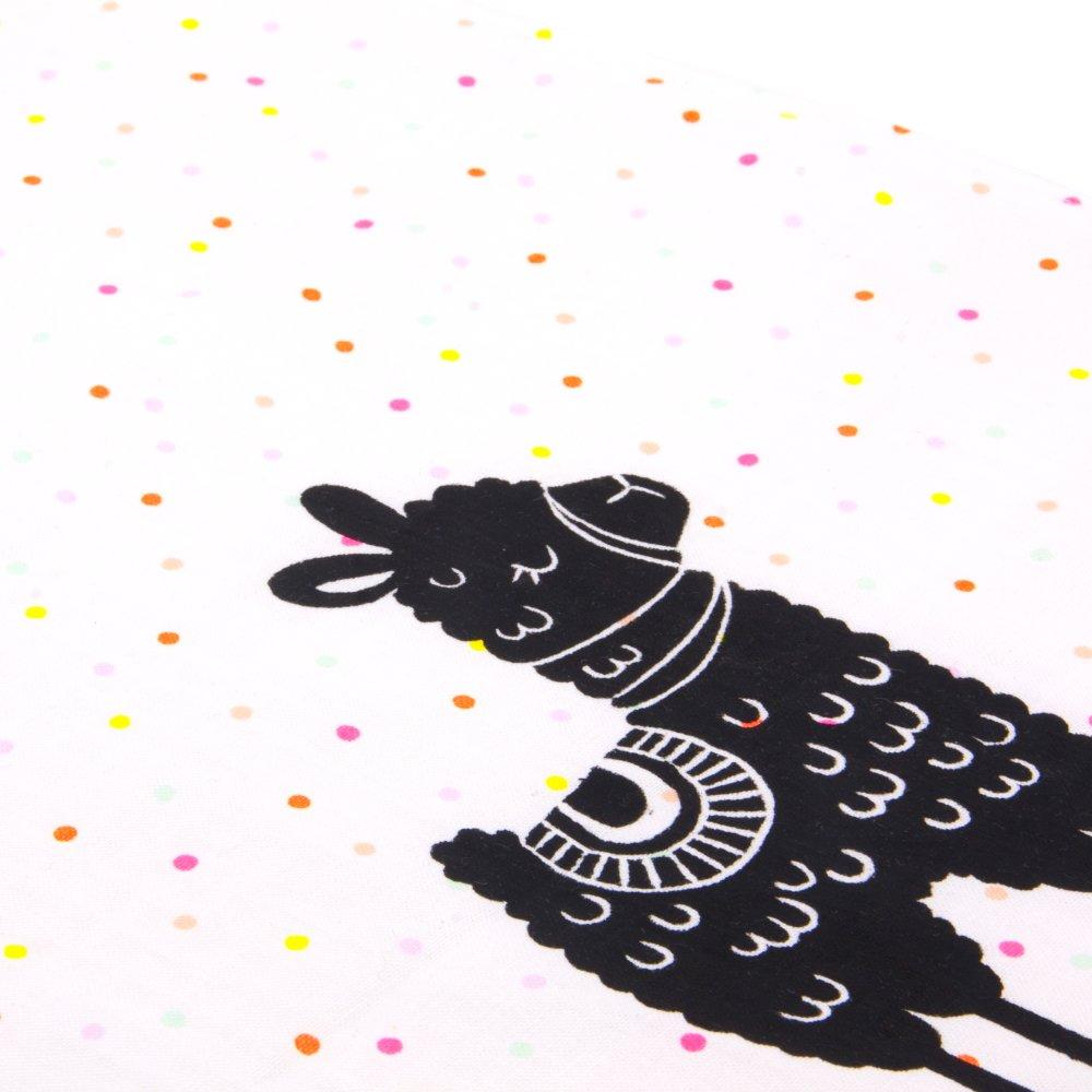Serviette enfant, bavoir, elastique, pour la rentree scolaire, la maternelle, illustree d'un lama sur tissu blanc à pois, 8 mois à 5-6 ans