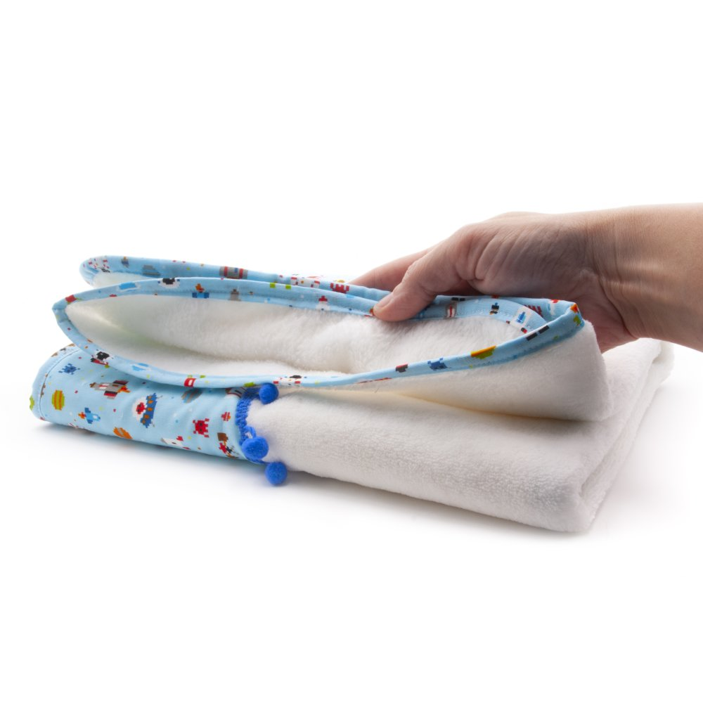 Couverture, plaid bebe, en polaire extra douce, avec une fusee, tissu bleu avec motif de l'espace, cadeau pour bebe, baby shower