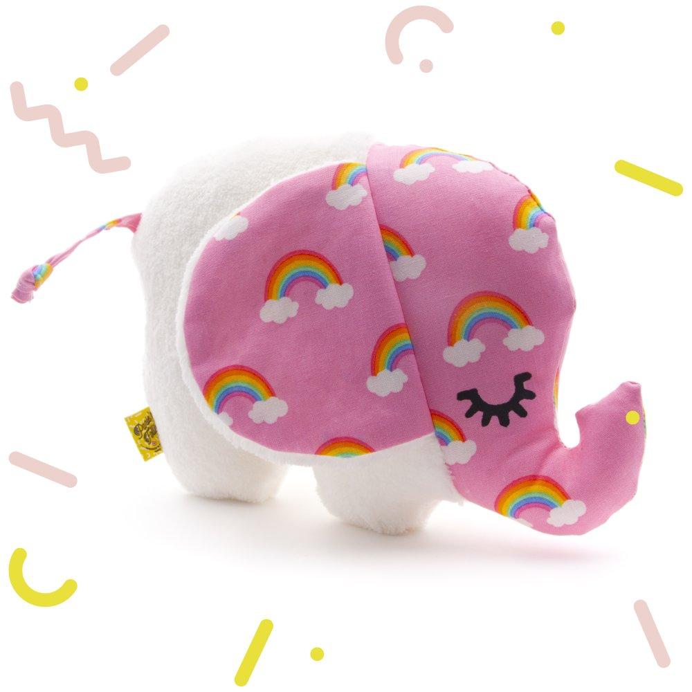 Cadeau Rigolo Baby Shower doudou bebe, peluche elephant rose, tissu arc en ciel, un cadeau naissance,  cadeau original bebe, pour une baby shower, noel, 19x15x7 cm