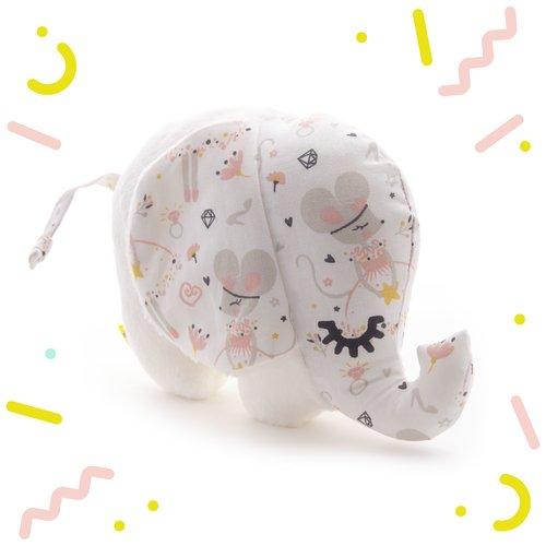Doudou bebe, peluche elephant, polaire extra douce, tissu souris, rose, gris, cadeau naissance, pour filles, noel, anniversaire, 19x15x7cm