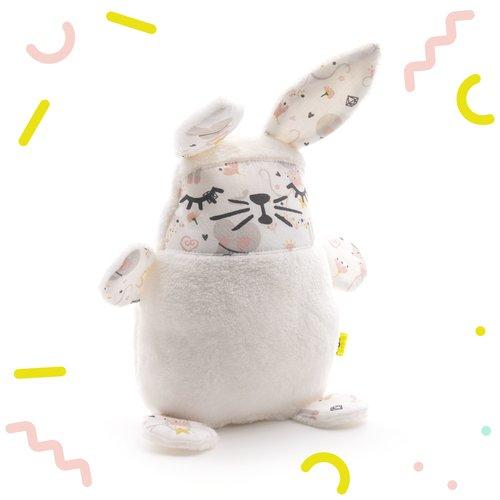 Doudou lapin, peluche bébé, extra douce, tissu avec des souris, rose, gris, étoiles, pour filles, naissance,noel, anniversaire,  15x7x19
