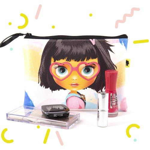 Trousse à maquillage en simili cuir jaune, rose et bleu, pochette originale pour femme, un cadeau pour la fête des mères, 18x13,5 cm