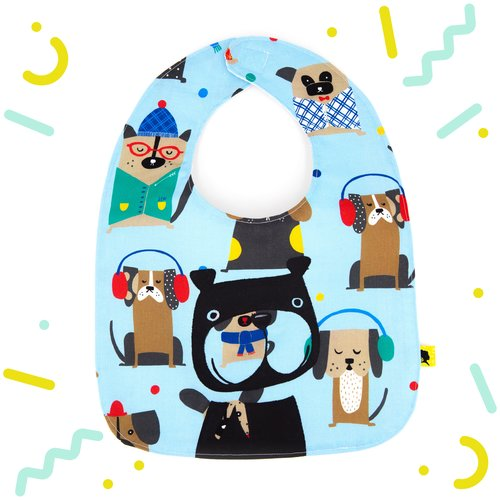 Bavoir bébé original bleu avec des chiens emmitouflés, pour garçon, un cadeau unique pour une naissance, fait main en france, 0/24 mois