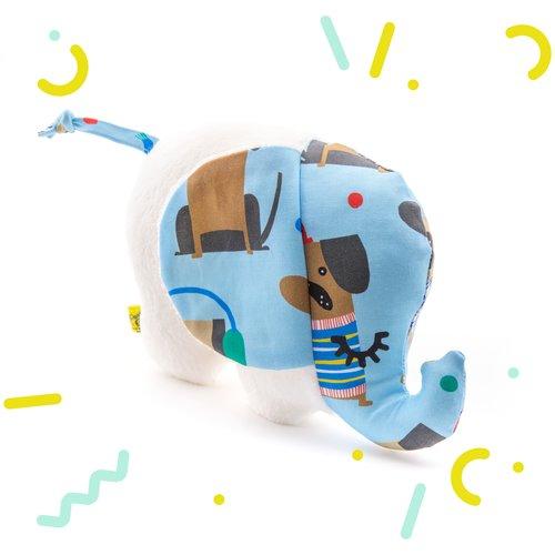 Doudou bébé éléphant blanc et bleu avec des chiens emmitouflés, tout doux, peluche bébé pour une naissance, pour garçon, fait main