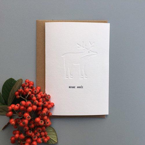Le renne vous souhaite une bonne année ! - carte postale embossée