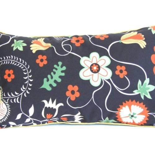 Housse de coussin 30 x 50 cm, taie d'oreiller, vert, noir, fleurs, passepoil doré, rétro, original, élégant