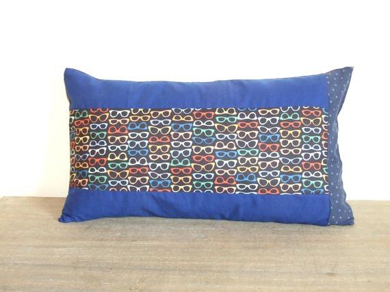 Housse de coussin 30 x 50 cm, taie d'oreiller, patchwork de tissu imprimés montures de lunettes, multicolore, étoiles
