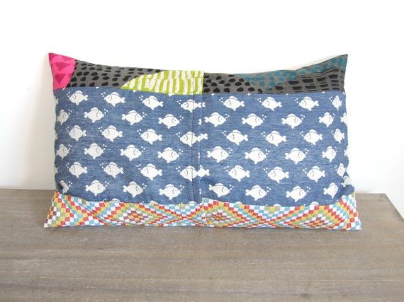 Housse de coussin 30 x 50 cm, taie d'oreiller, patchwork, motifs poissons, marin, mer, losanges, ronds, graphique, moderne, tendance