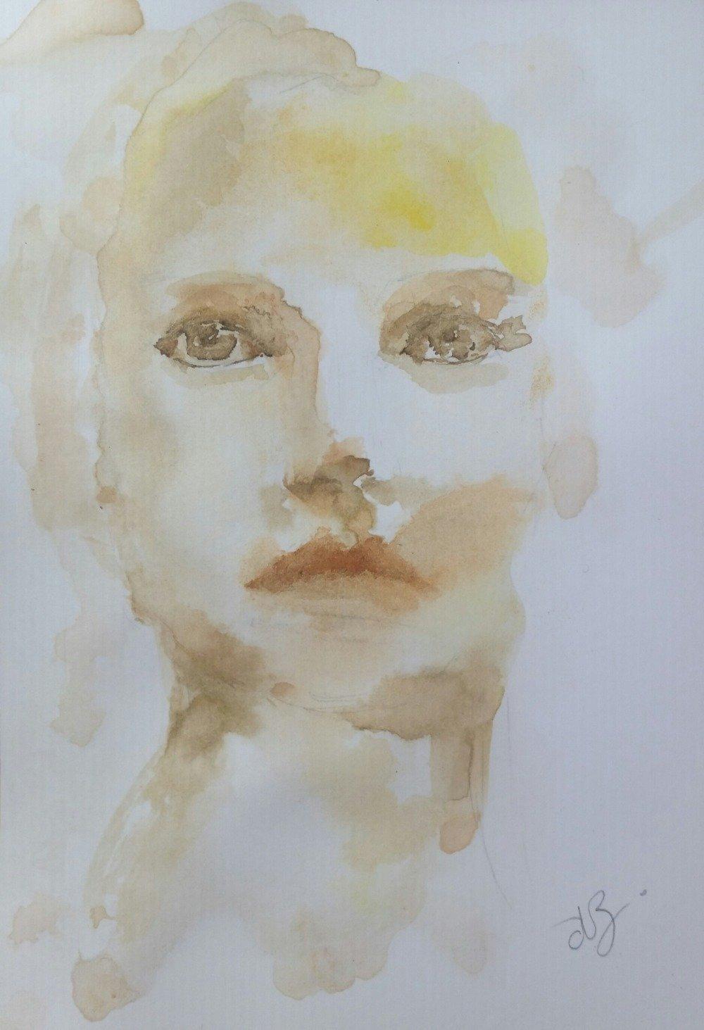 Portrait à l'encre sur papier