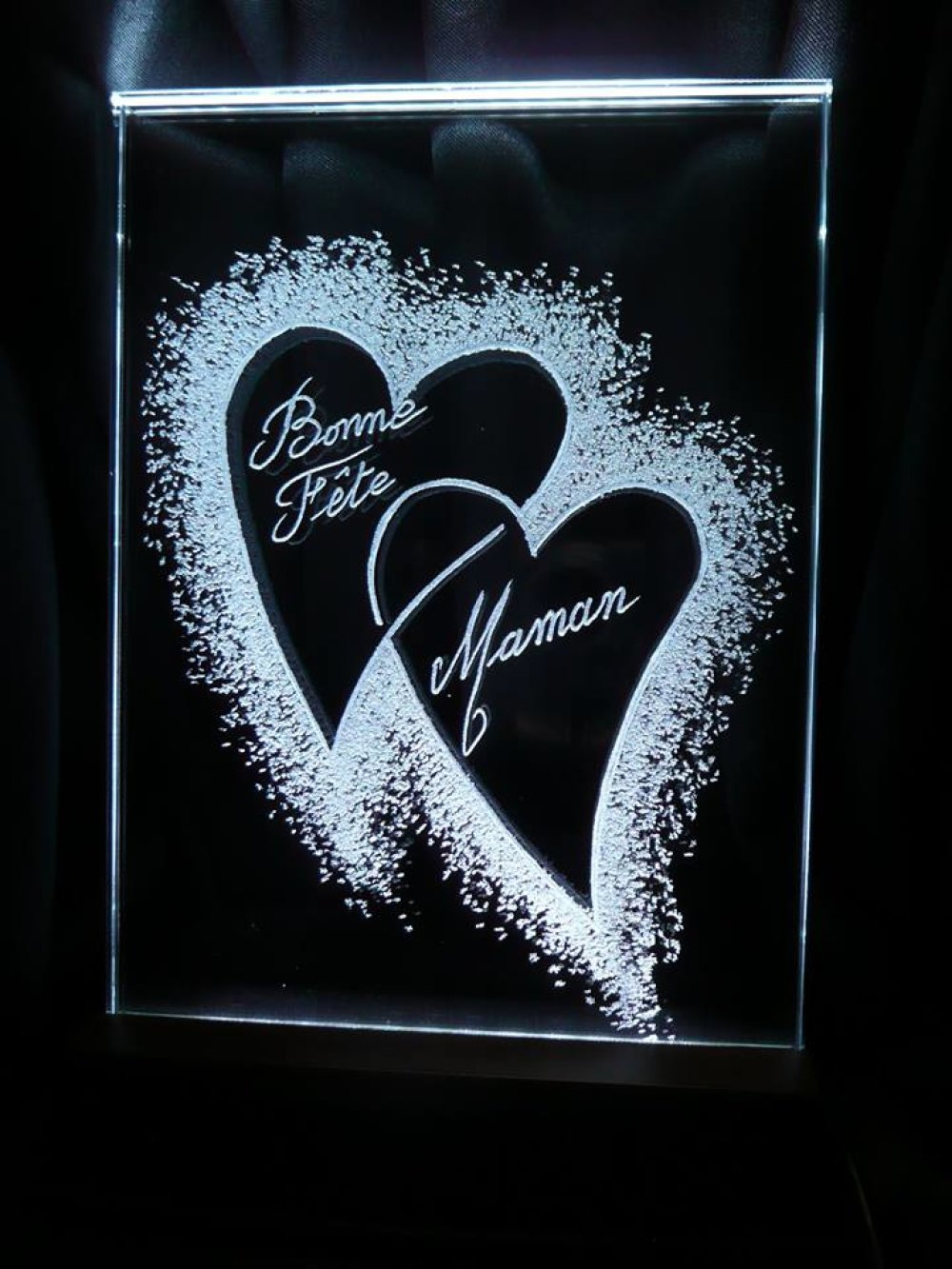 Gravure sur verre Cadre Lumineux  2 Coeurs