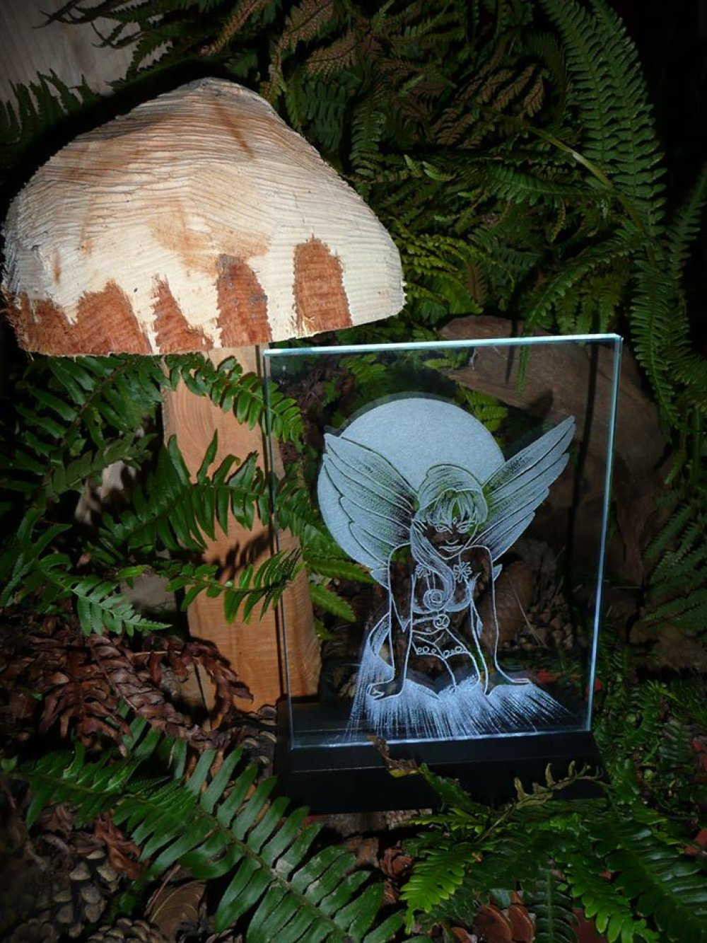 Gravure sur verre Cadre Lumineux  Elfe