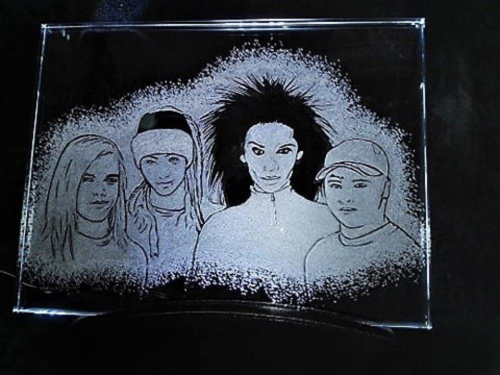 Gravure sur verre Cadre Lumineux  Tokio Hotel
