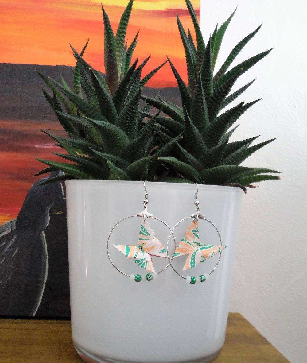 Boucles d'oreille origami créoles papillons motifs salsa