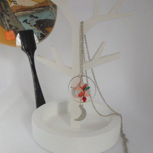 Collier ras du cou origami bouton de fleur de lotus rouge et lune