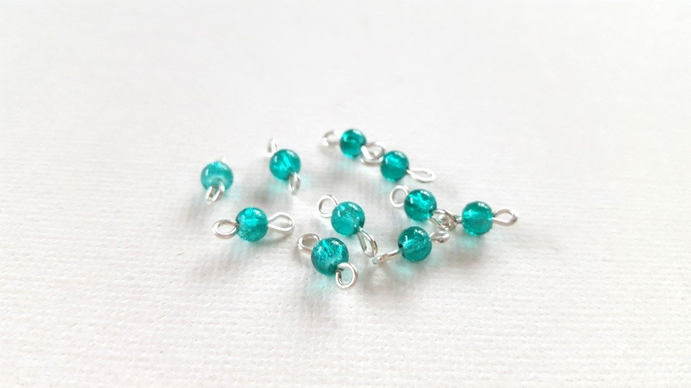 2 Mini connecteurs perles rondes turquoise transparent