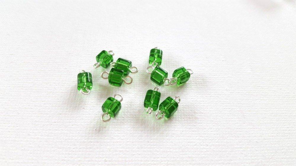 2 Mini connecteurs perles cubes vert transparent