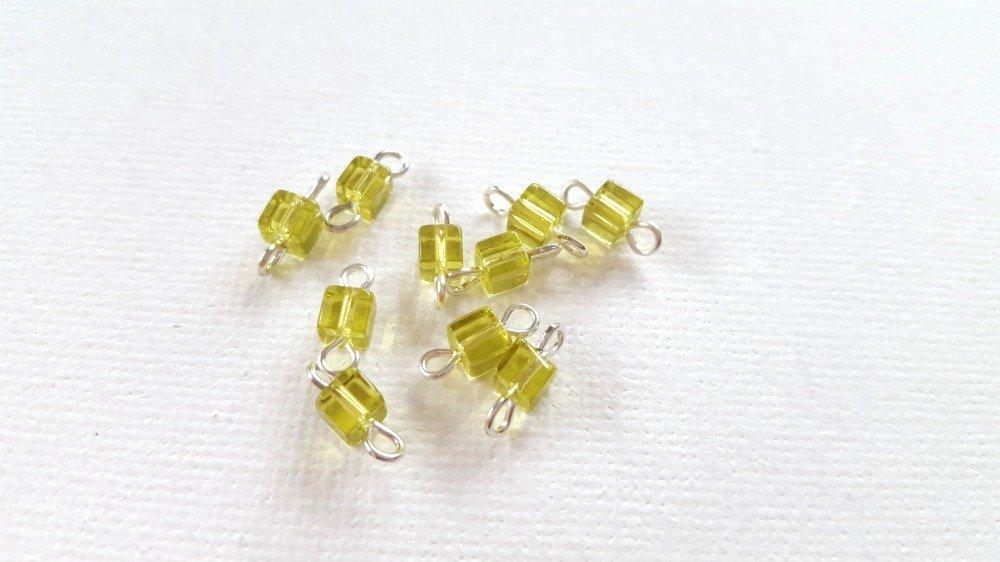 2 Mini connecteurs cubes jaune vert tilleul clair transparent