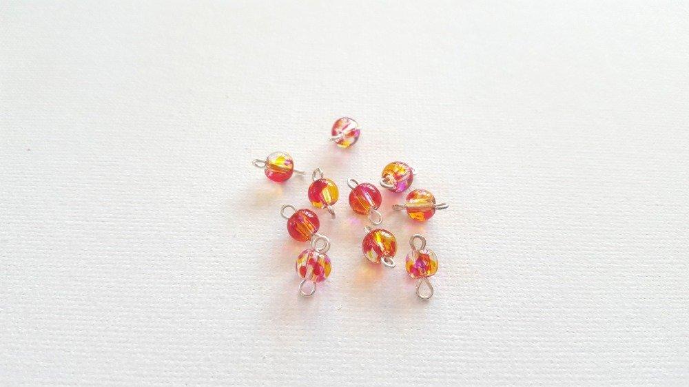 2 Mini connecteurs perles rondes jaune et rouge transparent