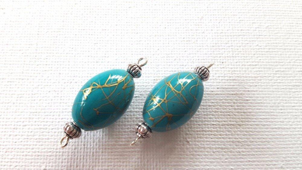 2 Connecteurs perles ovales bleu turquoise avec filets dorés, perles métal argenté