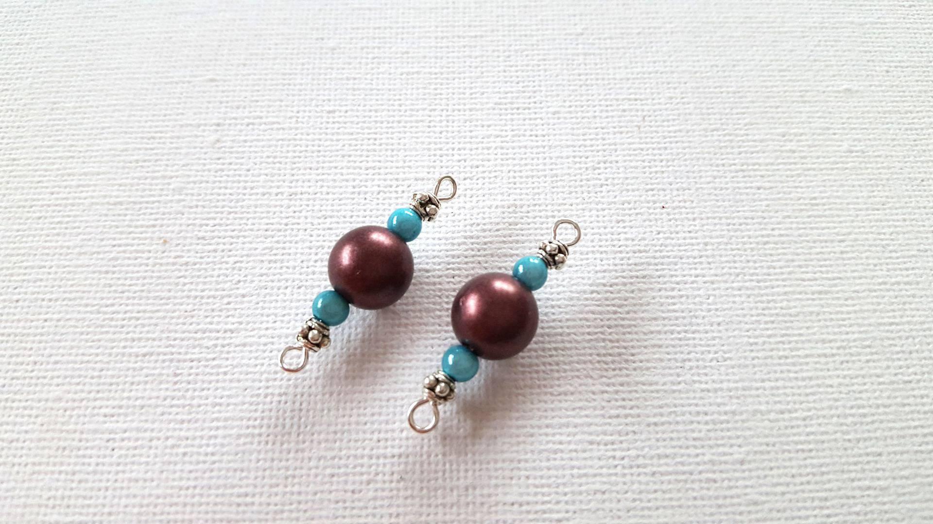 20A- 2 Connecteurs perles rondes marron café, perles rondes magiques bleu nacré, perles métal argenté