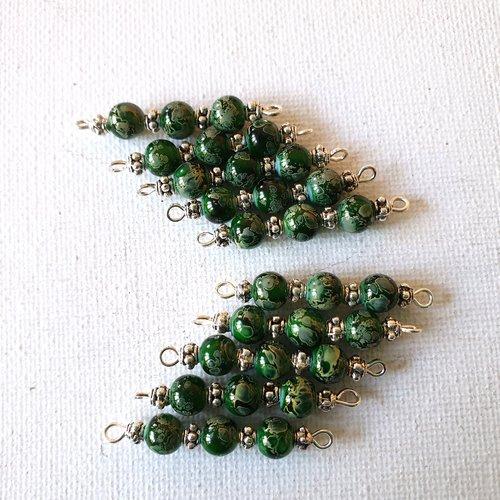 2 connecteurs perles verre marbré vert foncé et vert clair, perles métal argenté clouté