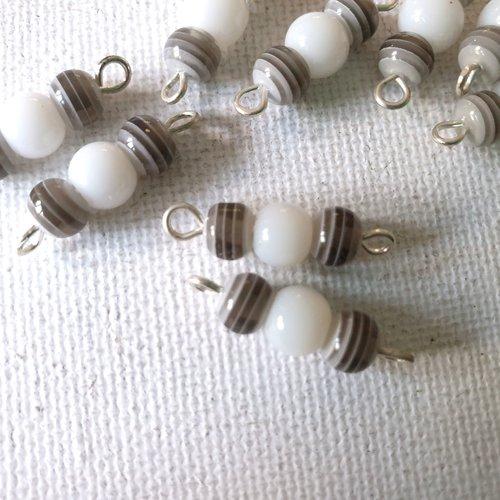 2 connecteurs perles verre blanc, perles verre gris clair cerclées gris foncé marron