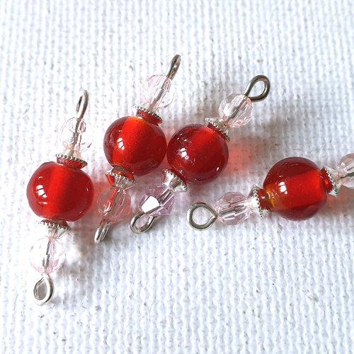 2 connecteurs perles rondes verre rouge groseille transparent, facettes rose pâle transparent, toupies métal argenté lisse