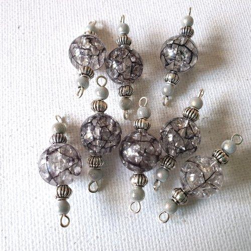 2 connecteurs perles rondes transparentes craquelées noires, perles magiques gris nacré, lampions  métal argenté