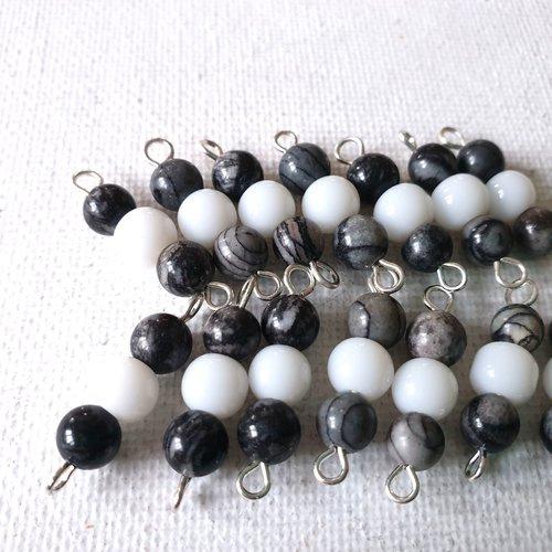 2 connecteurs perles rondes verre blanc opaque, perles rondes verre tons marbré gris et noir