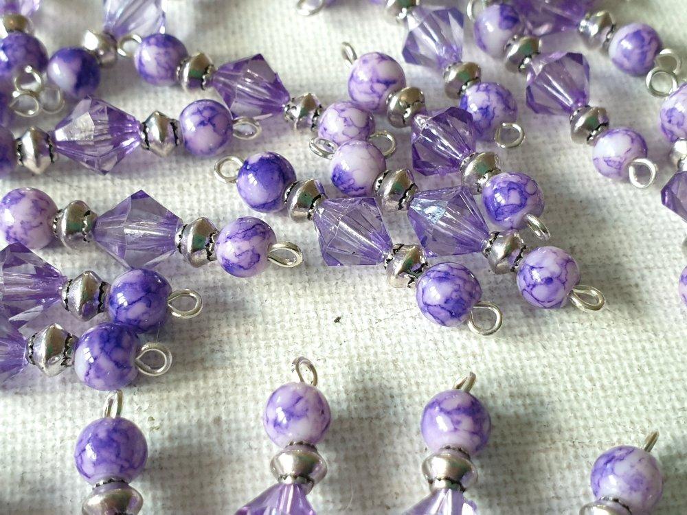 2 Connecteurs toupies violet transparent, perles rondes verre marbré violet et blanc, perles toupies métal argenté