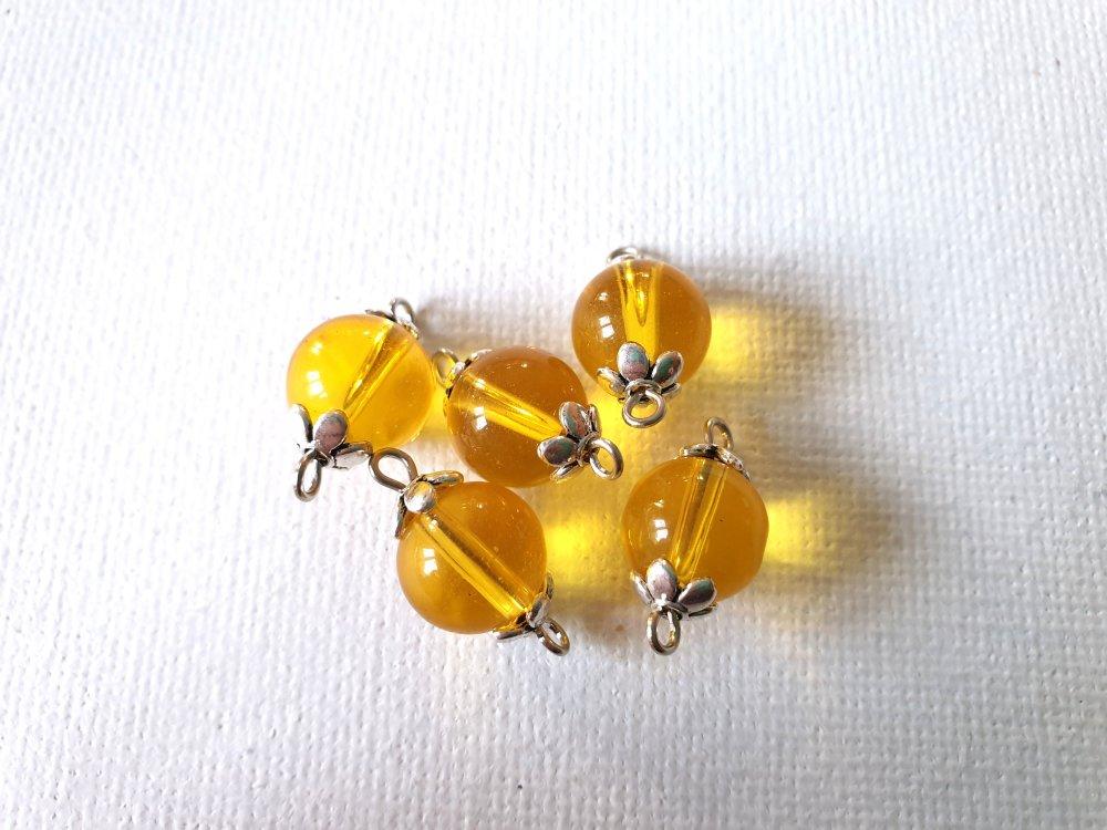 5 Connecteurs perles verre jaune d'or, miel, perles coupelles fleurs métal argenté