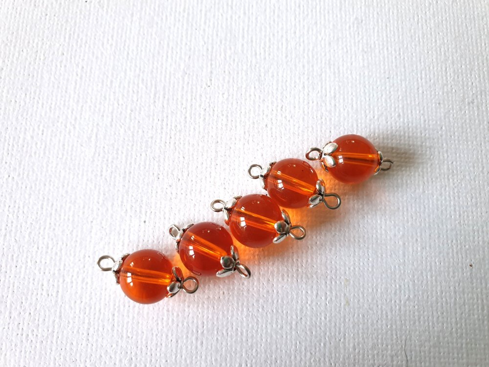 5 Connecteurs perles verre orange  transparent, perles coupelles fleurs métal argenté