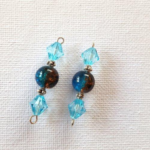 2 connecteurs perles toupies acrylique bleu ciel, perles rondes verre bleu et marron caramel