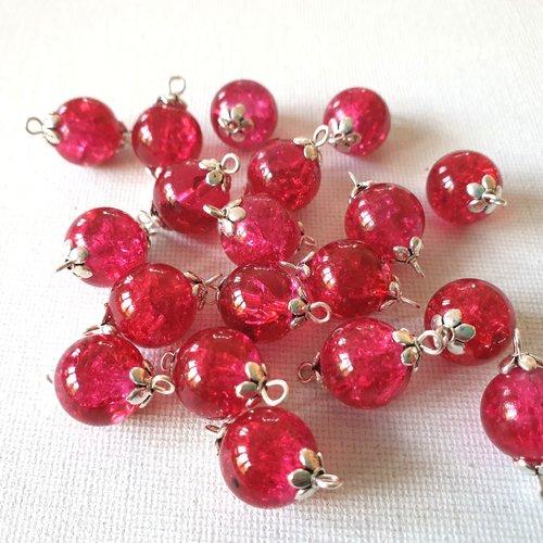 2 connecteurs perles verre craquelé rose fuchsia framboise, perles coupelles métal argenté clair