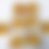 2 connecteurs perles verre jaune miel ambre clair transparent, perles rondes plates bosselés,  lampions métal argenté