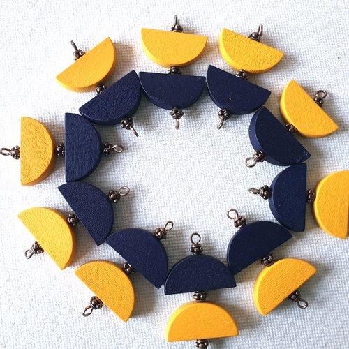 2 connecteurs perles demi lunes bois jaune vanille, perles demi lunes bois bleu marine