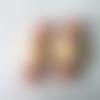 2 connecteurs perles rondes verre orange saumon nacré, perles rectangles arrondis verre beige crème