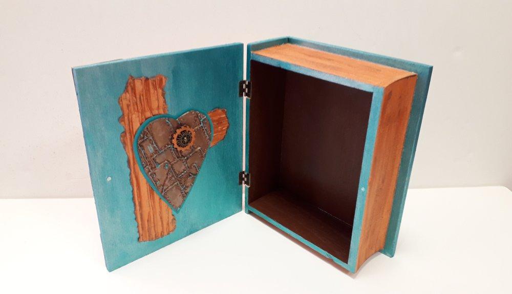 Boîte livre en bois turquoise et orange