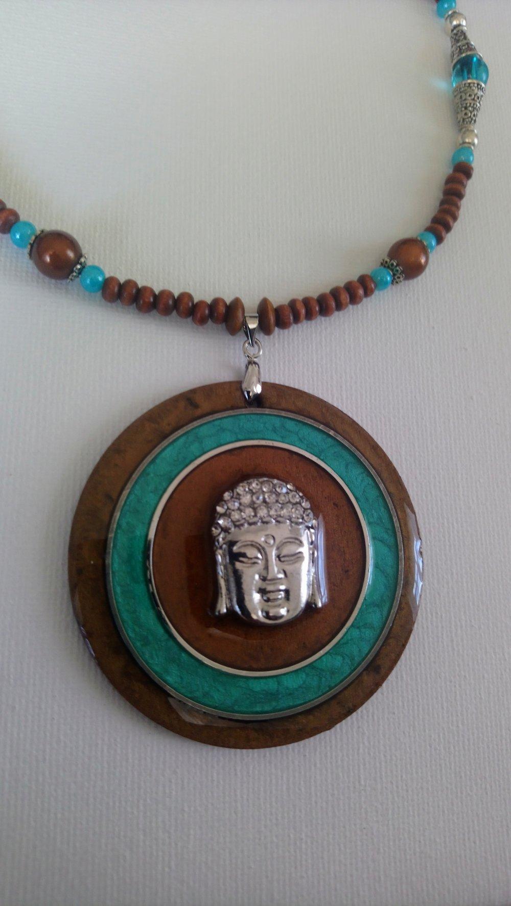 collier bouddha marron glacé turquoise argenté fait main