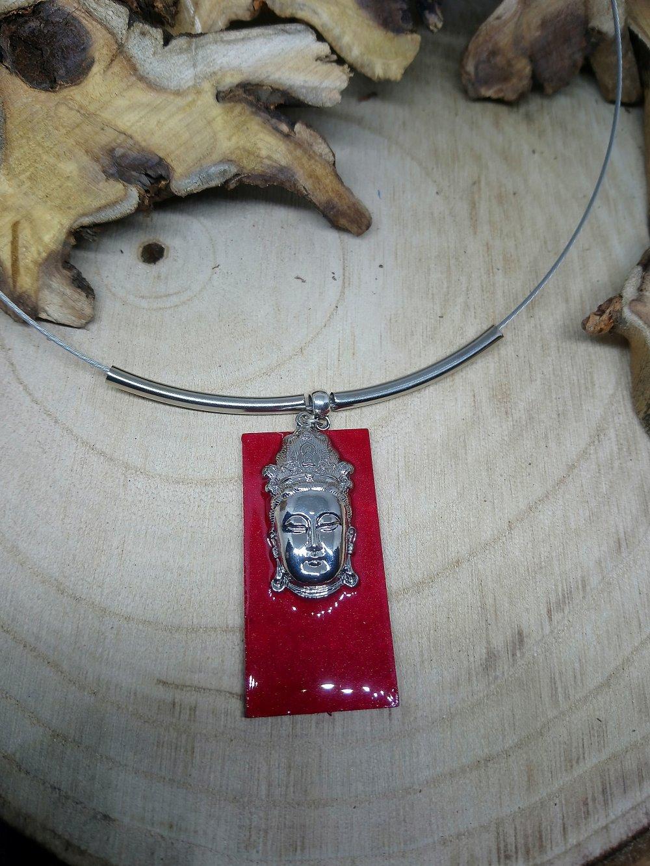 collier bouddha argenté rouge carmin